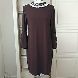 Tiana B Flounces Bell Sleeve Dress